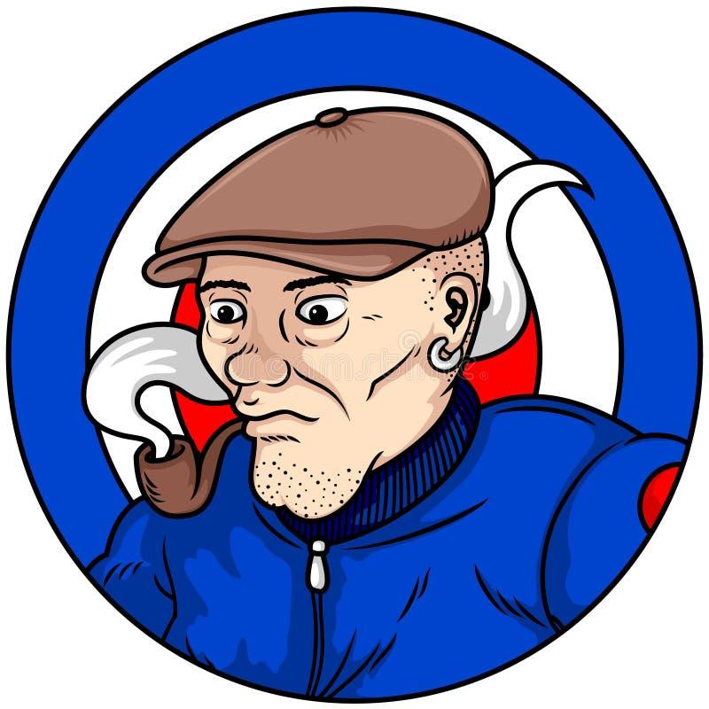 Διανυσματική απεικόνιση ενός ηληκιωμένου με ένα μπλε καπέλο και ένα σακάκι ελεύθερη απεικόνιση δικαιώματος
