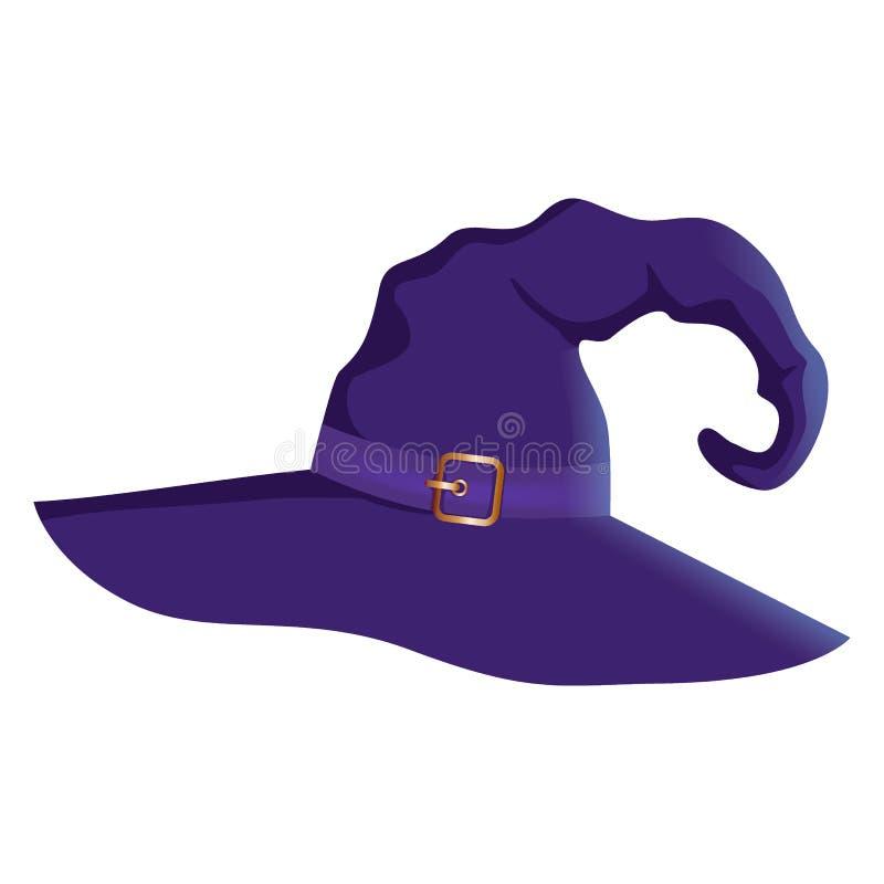 Διανυσματική απεικόνιση ενός καπέλου μαγισσών αποκριών κινούμενων σχεδίων Καπέλο μαγισσών με την πόρπη που απομονώνεται στο άσπρο διανυσματική απεικόνιση