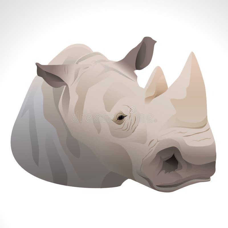Διανυσματική απεικόνιση ενός κεφαλιού ρινοκέρων στοκ φωτογραφία