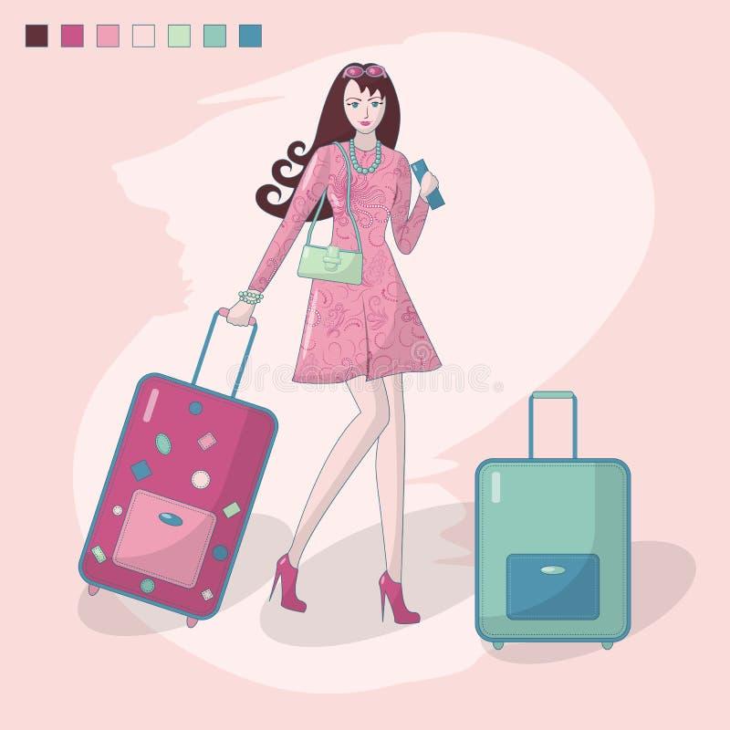 Διανυσματική απεικόνιση ενός κοριτσιού με τις βαλίτσες και ενός εισιτηρίου διαθέσιμου, που πηγαίνει σε ένα ταξίδι r Χαλάρωση E ελεύθερη απεικόνιση δικαιώματος