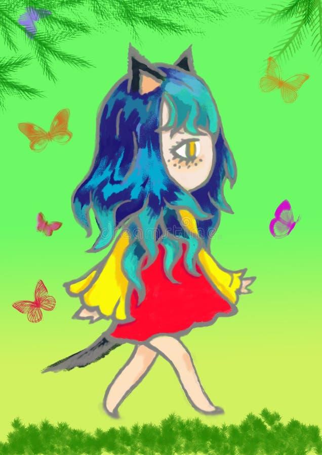 Διανυσματική απεικόνιση ενός κοριτσιού anime με την όμορφη πορφυρή τρίχα κλίσης ενάντια σε έναν ουρανό αστεριών σε ένα φόρεμα των ελεύθερη απεικόνιση δικαιώματος