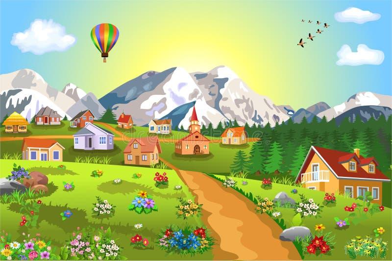 Διανυσματική απεικόνιση ενός μικρού χωριού στους λόφους με τα μέρη των λουλουδιών όλες γύρω απεικόνιση αποθεμάτων