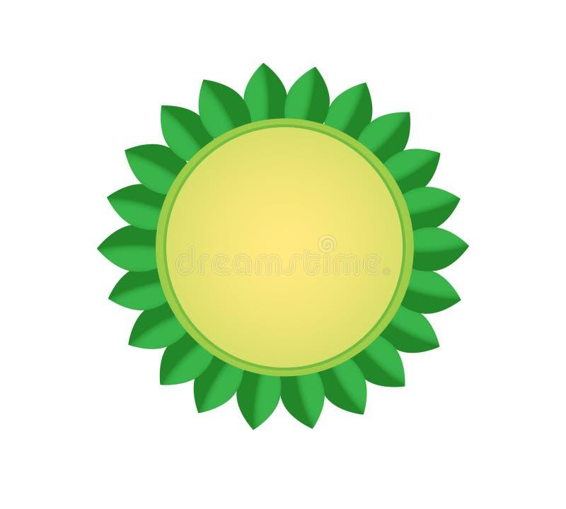 Διανυσματική απεικόνιση ενός μπεζ κύκλου με τα πράσινα φύλλα σε ένα άσπρο υπόβαθρο στοκ φωτογραφία με δικαίωμα ελεύθερης χρήσης