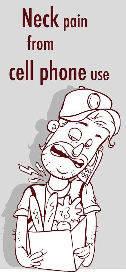 διανυσματική απεικόνιση ενός πόνου λαιμών από την τηλεφωνική χρήση κυττάρων ελεύθερη απεικόνιση δικαιώματος