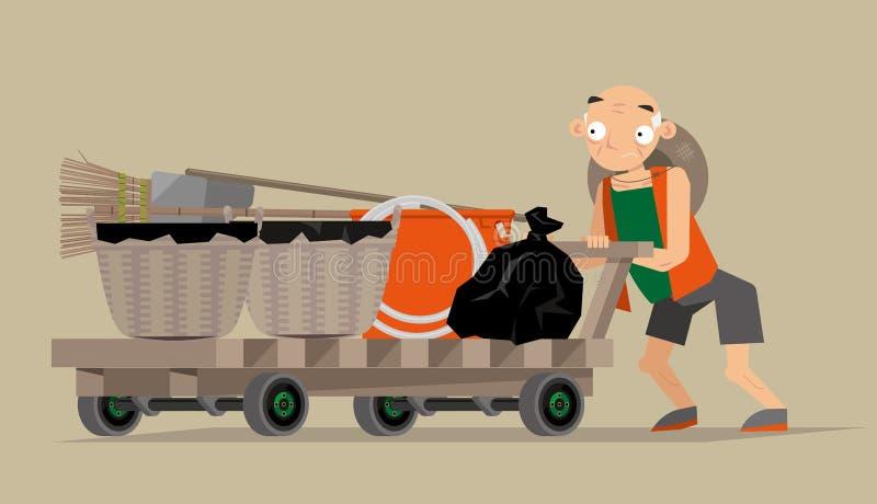 Διανυσματική απεικόνιση ενός συλλέκτη αποβλήτων στο Χονγκ Κονγκ ελεύθερη απεικόνιση δικαιώματος