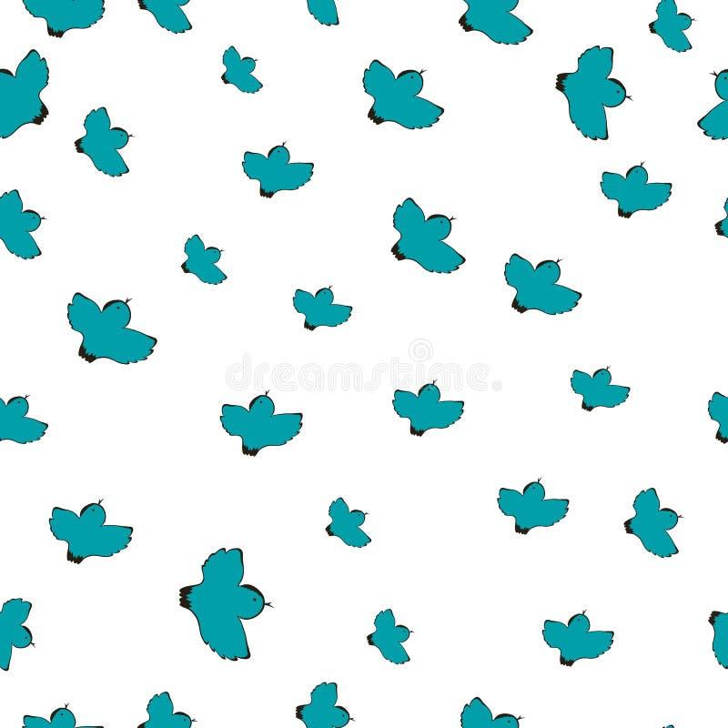 Διανυσματική απεικόνιση ενός σχεδίου με τα μπλε πουλιά ελεύθερη απεικόνιση δικαιώματος