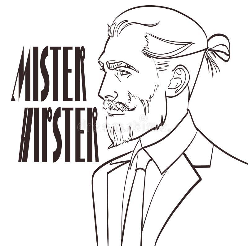 Διανυσματική απεικόνιση ενός σύγχρονου ατόμου σε μια λαϊκή τέχνη, κωμικό ύφος με την υπογραφή ο κύριος Hipster απεικόνιση αποθεμάτων