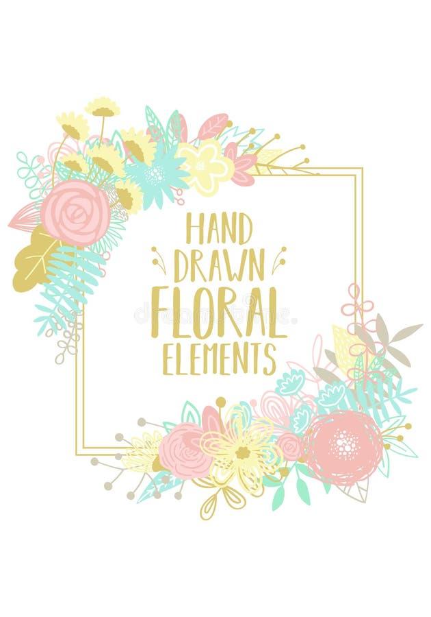 Διανυσματική απεικόνιση ενός τετραγωνικού πλαισίου, που διακοσμείται με τα floral μοτίβα για τη διακόσμηση των καρτών, των προσκλ διανυσματική απεικόνιση