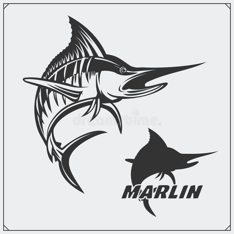 Διανυσματική απεικόνιση ενός ψαριού μαρλίν και των στοιχείων σχεδίου αλιείας διανυσματική απεικόνιση
