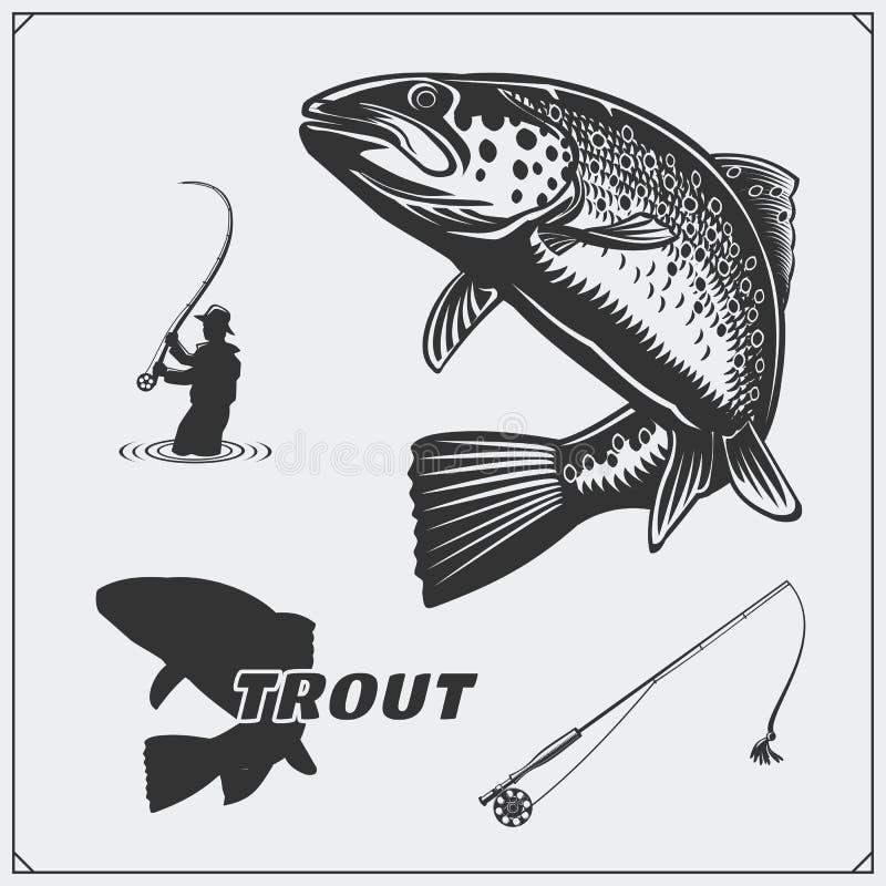 Διανυσματική απεικόνιση ενός ψαριού πεστροφών και των στοιχείων σχεδίου αλιείας διανυσματική απεικόνιση