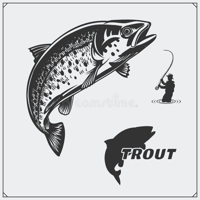Διανυσματική απεικόνιση ενός ψαριού πεστροφών και των στοιχείων σχεδίου αλιείας απεικόνιση αποθεμάτων