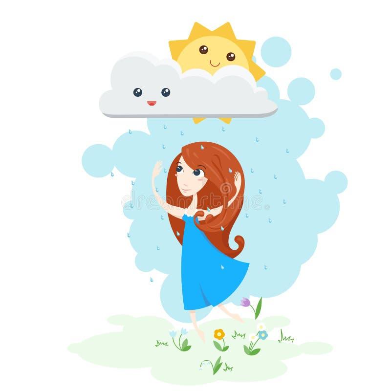 Διανυσματική απεικόνιση ενός όμορφου κοριτσιού που χορεύει στη βροχή και το χαμόγελο ήλιων διανυσματική απεικόνιση