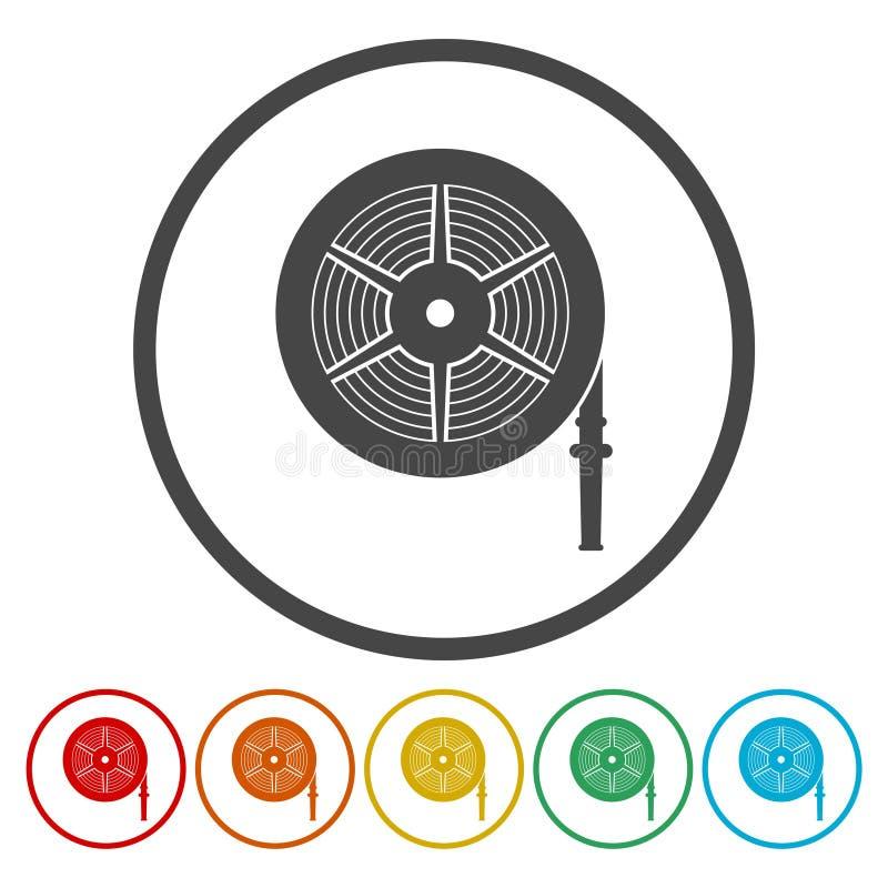 Διανυσματική απεικόνιση εξελίκτρων μανικών πυρκαγιάς, εικονίδιο πυροσβεστικών σταθμών ελεύθερη απεικόνιση δικαιώματος