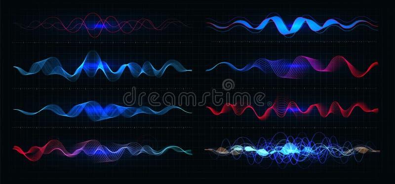Διανυσματική απεικόνιση εξισωτών Κυματιστές γραμμές κινήσεων χρώματος παλμού στο μαύρο υπόβαθρο Γραφική παράσταση ραδιοσυχνότητας απεικόνιση αποθεμάτων