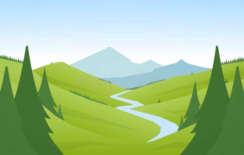 Διανυσματική απεικόνιση: Επίπεδο τοπίο θερινών βουνών κινούμενων σχεδίων με τους πράσινους λόφους, το δάσος πεύκων και τον ποταμό ελεύθερη απεικόνιση δικαιώματος