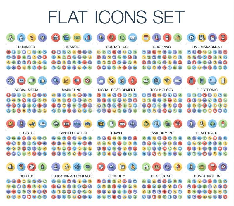 Διανυσματική απεικόνιση 500 επίπεδων λεπτών εικονιδίων Ιστού χρώματος γραμμών ελεύθερη απεικόνιση δικαιώματος