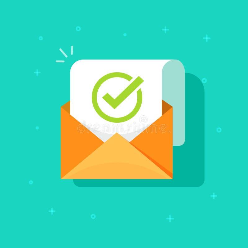 Διανυσματική απεικόνιση επιβεβαίωσης ηλεκτρονικού ταχυδρομείου, επίπεδος φάκελος κινούμενων σχεδίων με το έγγραφο επιστολών επιβε απεικόνιση αποθεμάτων