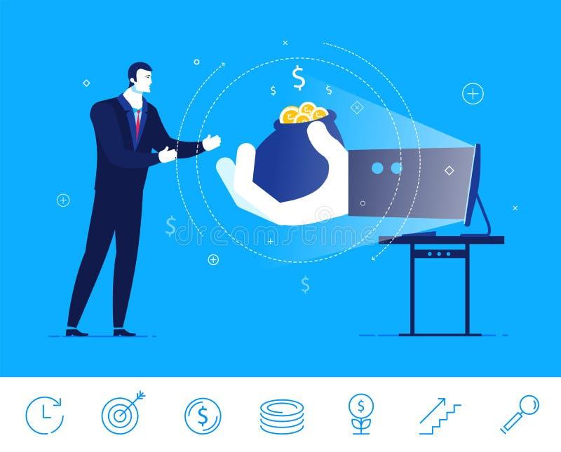 Διανυσματική απεικόνιση επιχειρησιακής έννοιας Επιχειρηματίας και χρήματα διανυσματική απεικόνιση