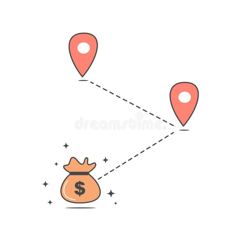 Διανυσματική απεικόνιση επιχειρησιακής έννοιας πορειών χρημάτων απεικόνιση αποθεμάτων