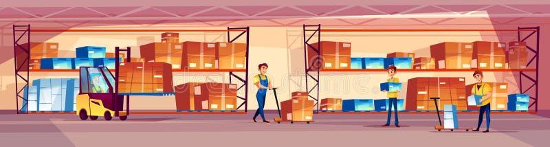 Διανυσματική απεικόνιση εργαζομένων αποθηκών εμπορευμάτων ελεύθερη απεικόνιση δικαιώματος