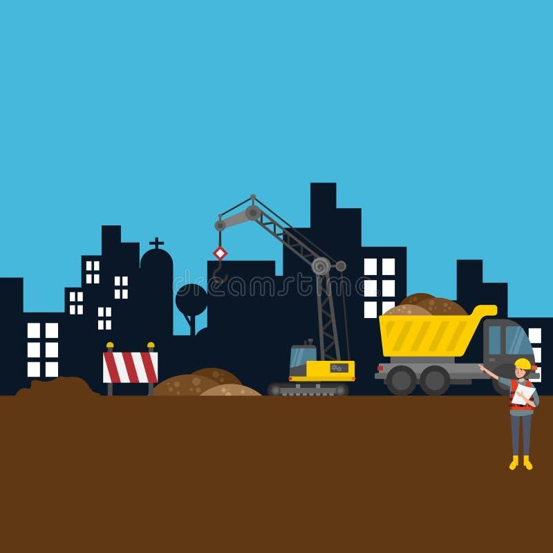 Διανυσματική απεικόνιση εργαζομένων εργοτάξιων οικοδομής πόλεων οδικού κτηρίου διανυσματική απεικόνιση
