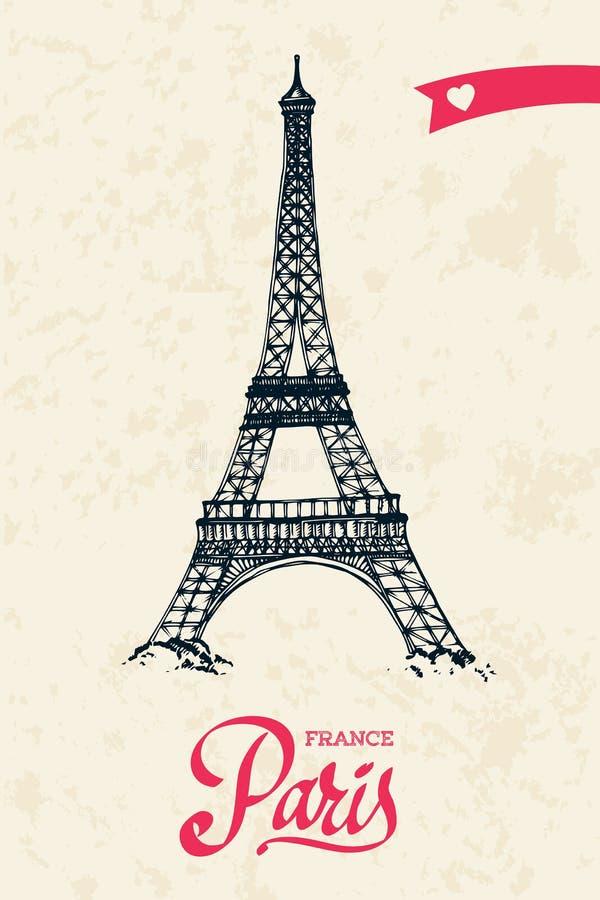 Διανυσματική απεικόνιση ευχετήριων καρτών πύργων του Άιφελ διανυσματική απεικόνιση