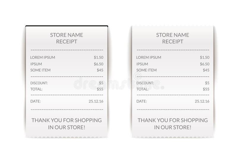 Διανυσματική απεικόνιση ελέγχου εγγράφου ATM Οικονομικός λογαριασμός παραλαβών Σημάδι πληρωμής καφέδων ή εστιατορίων Κατάλογος εγ ελεύθερη απεικόνιση δικαιώματος