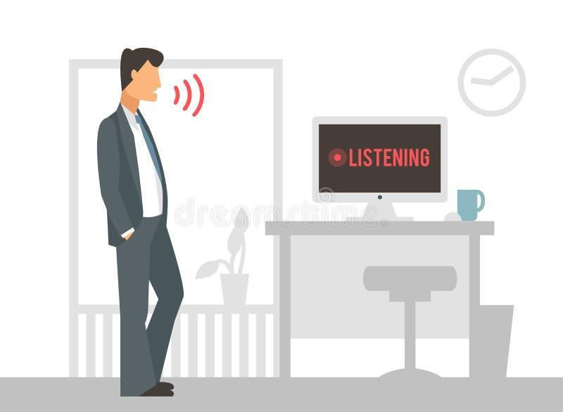 Διανυσματική απεικόνιση ελέγχου φωνής Έξυπνος υπολογιστής διανυσματική απεικόνιση