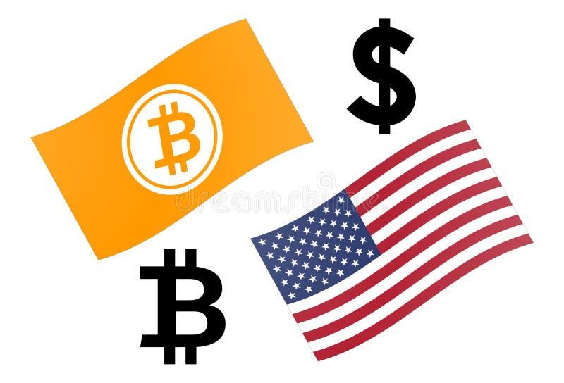 Διανυσματική απεικόνιση ζευγαριού νομίσματος Forex BTCUSD Bitcoin και Ηνωμένη σημαία, με BTC και το σύμβολο δολαρίων διανυσματική απεικόνιση