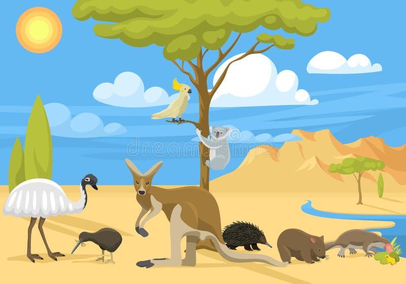Διανυσματική απεικόνιση ζωής της Αυστραλίας άγρια απεικόνιση αποθεμάτων