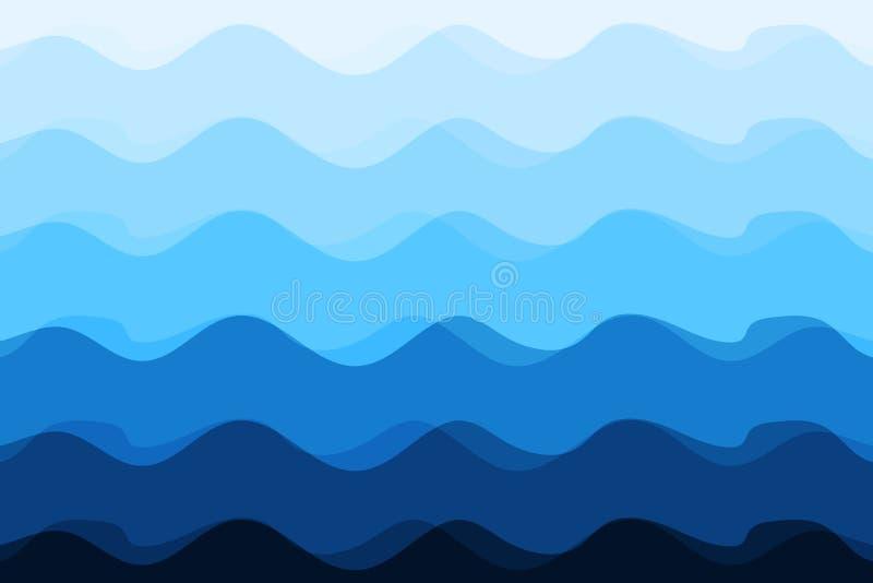 Διανυσματική απεικόνιση ηλιοφάνειας υποβάθρου κυμάτων αφηρημένη μπλε ελεύθερη απεικόνιση δικαιώματος