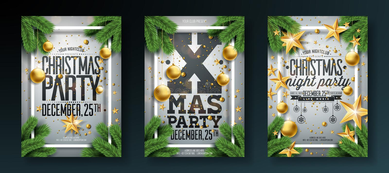 Διανυσματική απεικόνιση ιπτάμενων γιορτής Χριστουγέννων με τα στοιχεία τυπογραφίας διακοπών και διακοσμητική σφαίρα, κλάδος πεύκω διανυσματική απεικόνιση