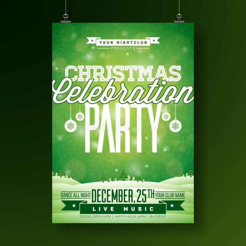 Διανυσματική απεικόνιση ιπτάμενων κόμματος Χαρούμενα Χριστούγεννας με τα στοιχεία τυπογραφίας και διακοπών στο πράσινο υπόβαθρο Χ διανυσματική απεικόνιση