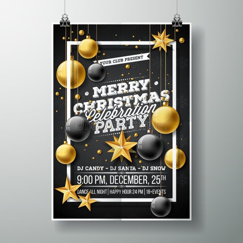 Διανυσματική απεικόνιση ιπτάμενων κόμματος Χαρούμενα Χριστούγεννας με τα στοιχεία τυπογραφίας και διακοπών στο μαύρο υπόβαθρο πρό απεικόνιση αποθεμάτων