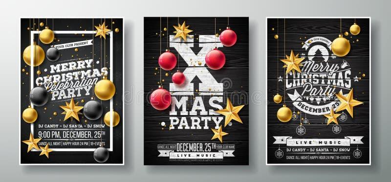 Διανυσματική απεικόνιση ιπτάμενων κόμματος Χαρούμενα Χριστούγεννας με το χρυσό αστέρι εγγράφου διακοπής, τη σφαίρα γυαλιού και το διανυσματική απεικόνιση