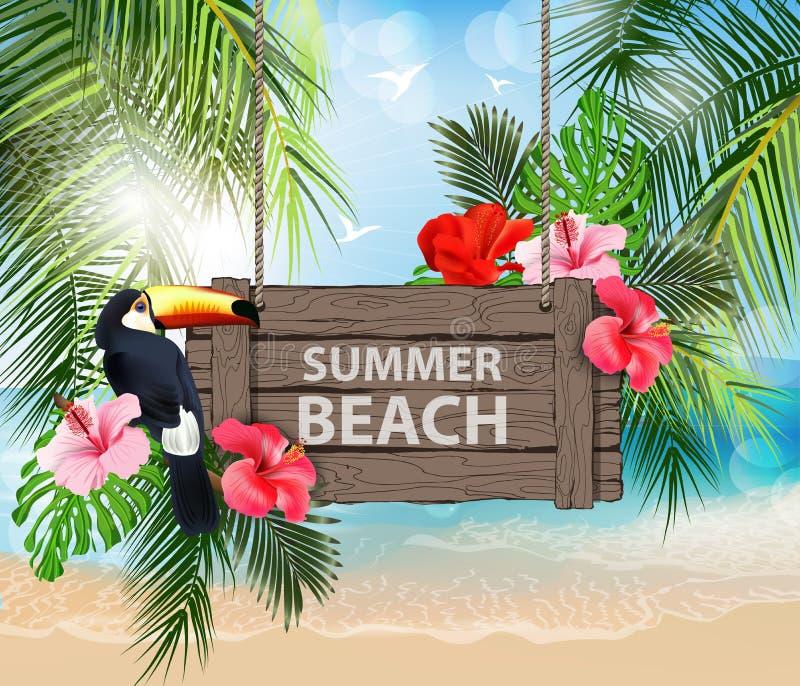 Διανυσματική απεικόνιση καλοκαιρινών διακοπών Παραλία, όμορφο sailboat, φοίνικες, όμορφη πανοραμική άποψη θάλασσας, διάνυσμα ελεύθερη απεικόνιση δικαιώματος