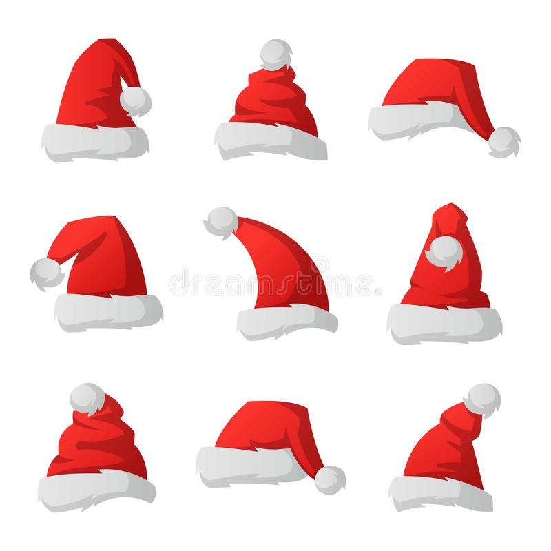 Διανυσματική απεικόνιση καπέλων Χριστουγέννων Santa διανυσματική απεικόνιση