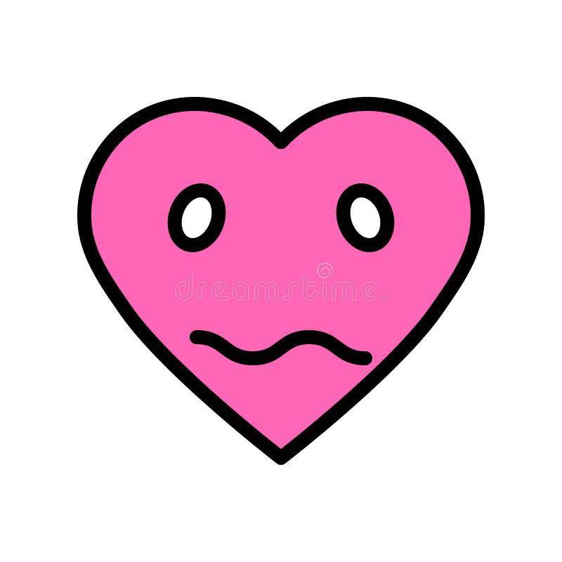 Διανυσματική απεικόνιση καρδιών emoticon, γεμισμένη editable περίληψη εικονιδίων ύφους ελεύθερη απεικόνιση δικαιώματος