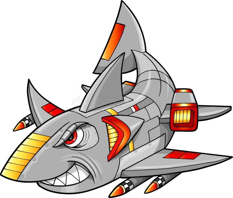 Διανυσματική απεικόνιση καρχαριών Cyborg ρομπότ απεικόνιση αποθεμάτων