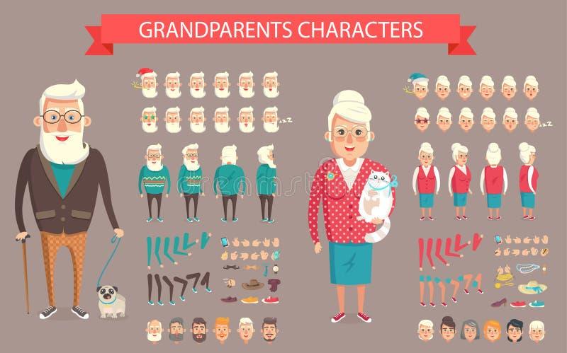 Διανυσματική απεικόνιση κατασκευαστών παππούδων και γιαγιάδων διανυσματική απεικόνιση