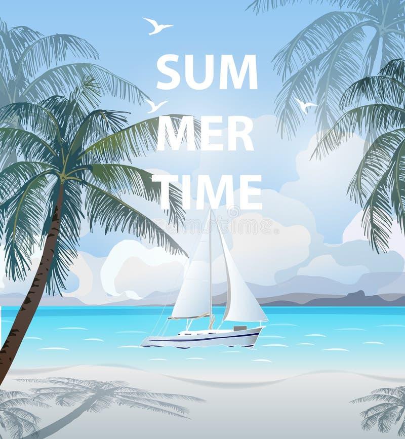 Διανυσματική απεικόνιση καλοκαιρινών διακοπών Παραλία, όμορφο sailboat, φοίνικες, όμορφη πανοραμική άποψη θάλασσας, διάνυσμα διανυσματική απεικόνιση