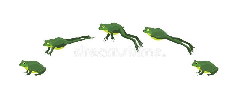 Διανυσματική απεικόνιση κινούμενων σχεδίων ακολουθίας ζωτικότητας βατράχων πηδώντας απεικόνιση αποθεμάτων