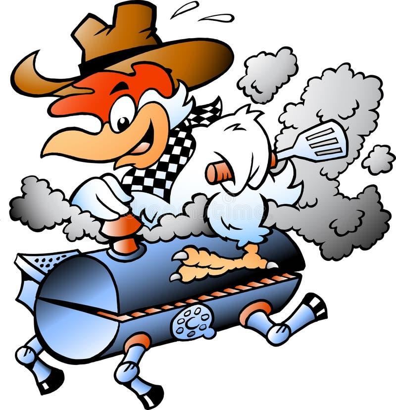 Διανυσματική απεικόνιση κινούμενων σχεδίων ενός κοτόπουλου αρχιμαγείρων που οδηγά ένα BBQ βαρέλι σχαρών ελεύθερη απεικόνιση δικαιώματος