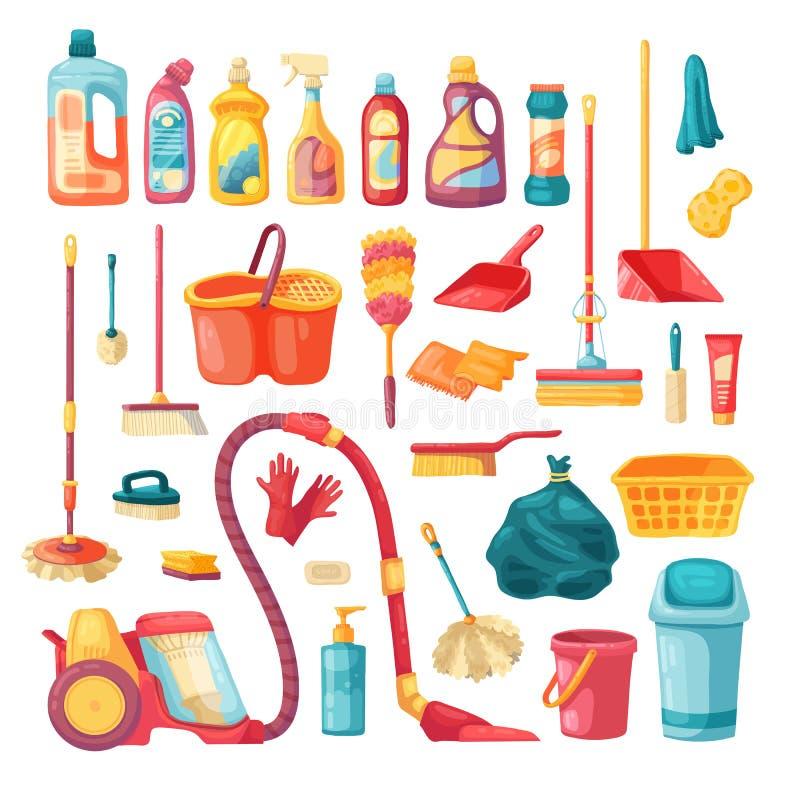 Οικιακό σύνολο και καθαρίζοντας εικονίδια προμηθειών Διανυσματική απεικόνιση κινούμενων σχεδίων με τα καθαρίζοντας προϊόντα, οικι διανυσματική απεικόνιση