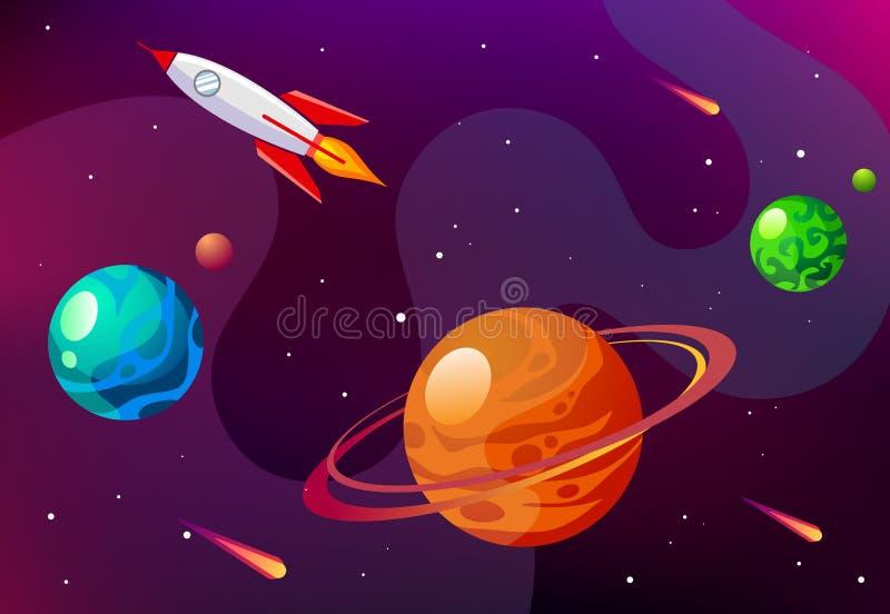 Διανυσματική απεικόνιση κινούμενων σχεδίων με το μακρινό διάστημα Διανυσματικός γαλαξίας υποβάθρου στοκ φωτογραφίες με δικαίωμα ελεύθερης χρήσης