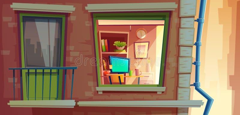 Διανυσματική απεικόνιση κινούμενων σχεδίων στοιχείων προσόψεων σπιτιών των διαμερισμάτων έξω από το παράθυρο και το μπαλκόνι άποψ απεικόνιση αποθεμάτων