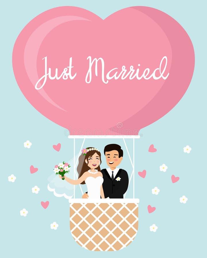 Διανυσματική απεικόνιση κινούμενων σχεδίων της νύφης και του νεόνυμφου σε ένα μπαλόνι ζεστού αέρα στον ουρανό Ευτυχές γαμήλιο ζευ ελεύθερη απεικόνιση δικαιώματος