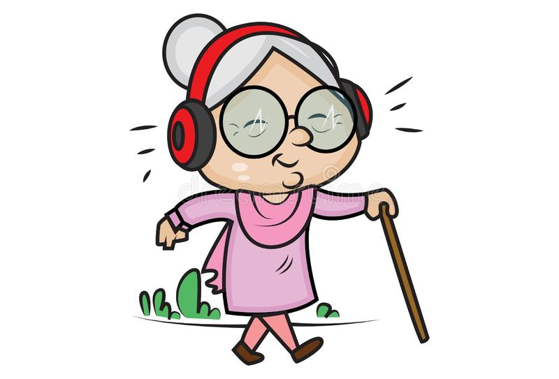 Διανυσματική απεικόνιση κινούμενων σχεδίων της χαριτωμένης γιαγιάς διανυσματική απεικόνιση