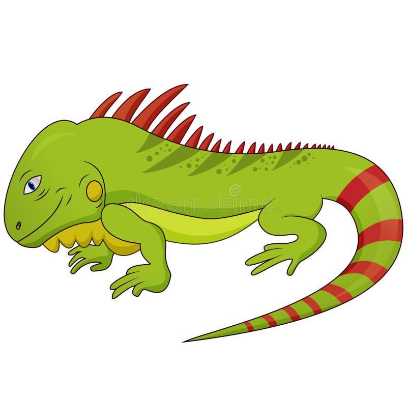 Διανυσματική απεικόνιση κινούμενων σχεδίων του αστείου έρποντος ζωικού χαρακτήρα σαυρών Iguana ελεύθερη απεικόνιση δικαιώματος