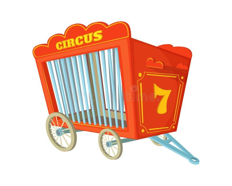 Διανυσματική απεικόνιση κινούμενων σχεδίων του κλουβιού τσίρκων Κάρρο για τα ζώα απεικόνιση αποθεμάτων